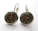 glass dome compass earrings