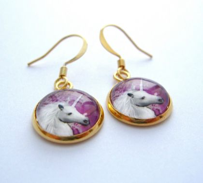 sale - Unicorn earrings in gold base