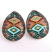 bright geometric patterned teardrop stud earrings