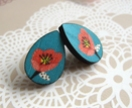 Teardrop wooden stud earrings - flower