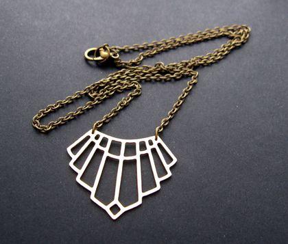 Art deco style brass pendant necklace - version 2