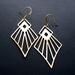 diamond shaped raw brass earrings
