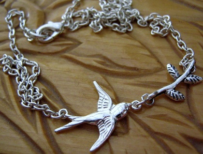 little bird and twig necklace