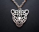 sale - antique silver leopard necklace