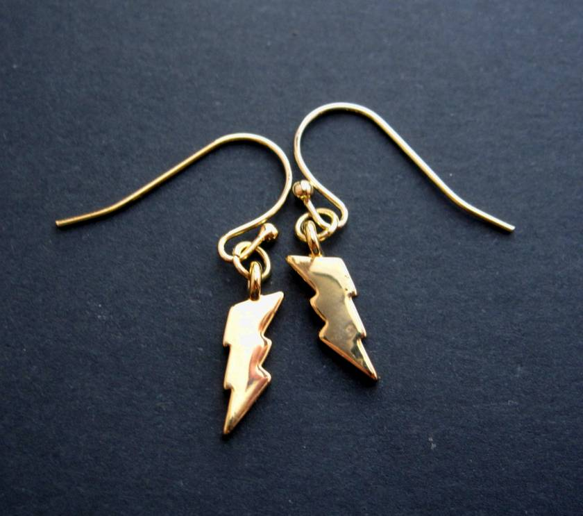 teeny tiny gold lightning bolt earrings