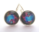 glass dome nebula earrings
