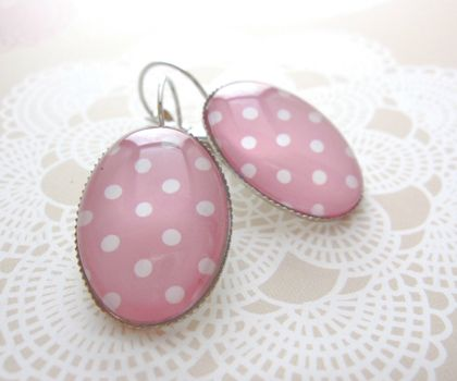 sale - pink dotty earrings