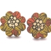 Sale - flower shaped wooden stud earrings