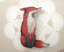 Shy fox brooch