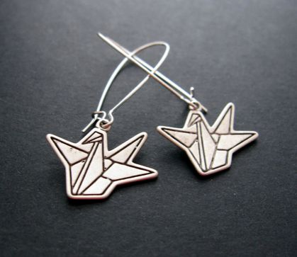 Paper crane charm earrings