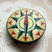 vintage compass woodcut brooch