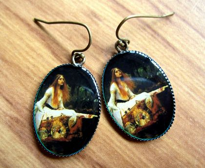 The Lady of Shalott - resin charm earrings