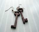 mismatched wooden key earrings