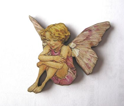 sale - Flower fairy brooch - happy