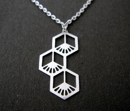 Geo flower drop necklace
