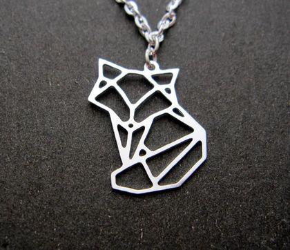 Geo fox outline necklace