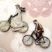 Vintage cyclists - woodcut magnet duo