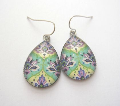 Mint, lavender and cream patterned teardrop earrings