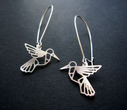 Geo hummingbird outline earrings