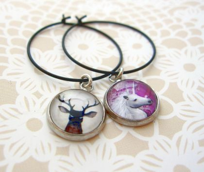 Glass dome wine charm duo - stag and unicorn