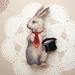 sale - sweet gentleman rabbit brooch