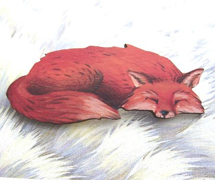 sale - Sleeping fox brooch