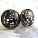 black and white seed pod silhouette glass dome stud earrings
