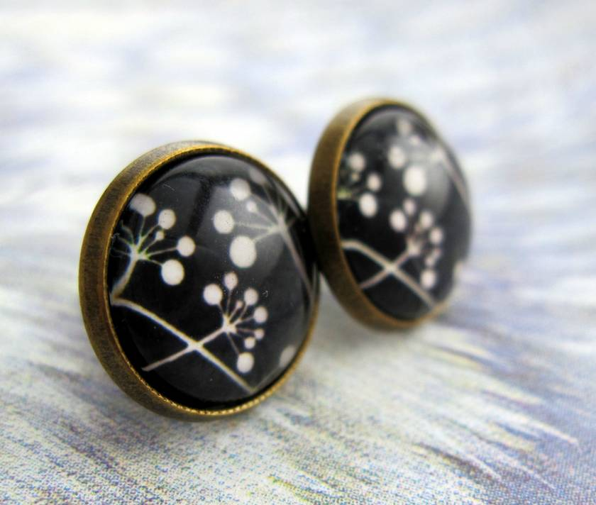 Sale - black and white seed pod silhouette glass dome stud earrings