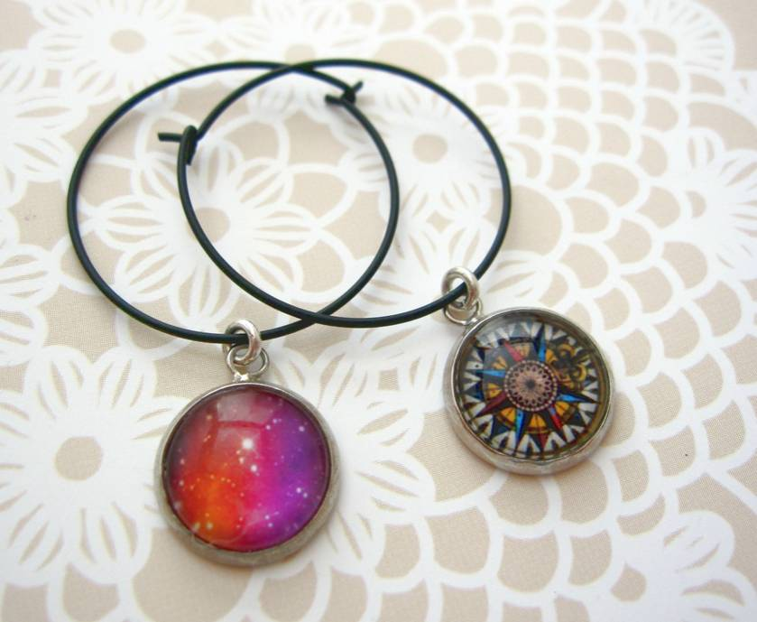 Glass dome wine charm duo - pink galaxy and vintage compass