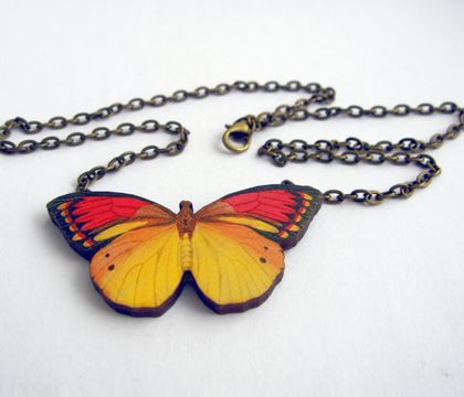 Pretty yellow butterfly necklace