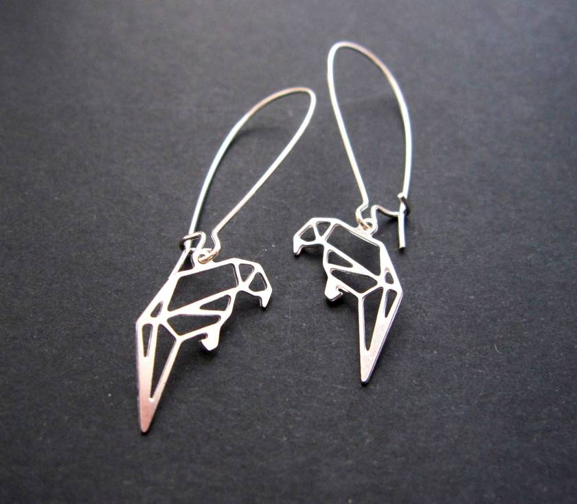 Geo parrot outline earrings