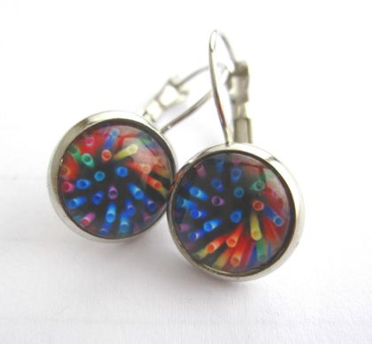 glass dome earrings - straws