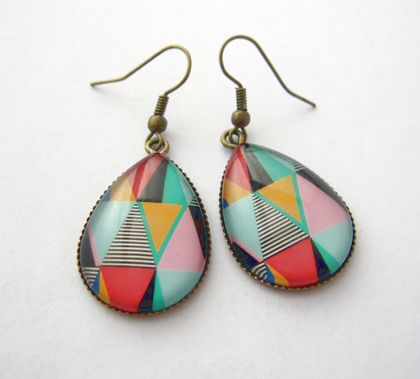 geo bright triangles - glass dome teardrop earrings