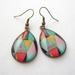 geo bright triangles - glass dome teardrop earrings