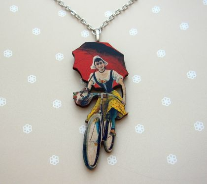 sale - Vintage cyclist necklace