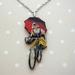 Vintage cyclist necklace