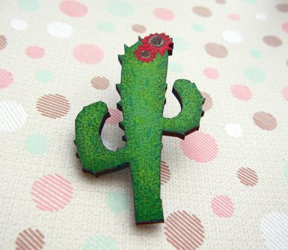 cactus with red flower brooch