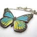 large blue and yellow butterfly necklace