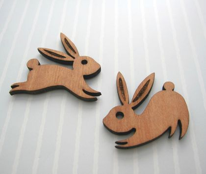 Playful rabbits - woodcut magnet duo