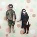 Zombie horror kids - woodcut magnet duo