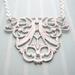 sale - shabby chic filigree silver splattered necklace