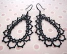 sale - lacey black filigree teardrop earrings