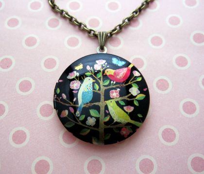 20% off with voucher code SALE - Patterned brass locket necklace - bright birds on a flowering tree.