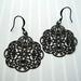 Black filigree earrings - version 2