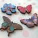 sale - Butterflies and flower - woodcut magnet set