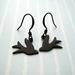 little black flying bird earrings