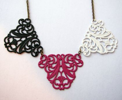 shabby chic filigree bunting necklace