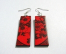vibrant red asymmetrical floral earrings