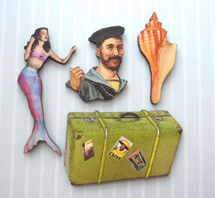A life at sea - woodcut magnet set