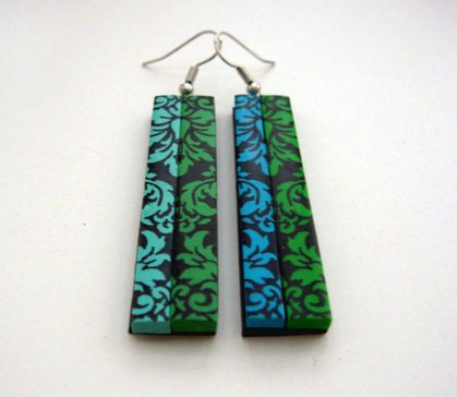 Mixed up damask earrings